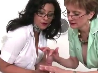 Femdom fetish mature nurses give handjob