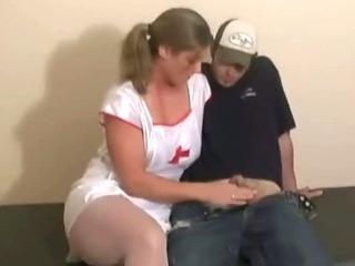 Busty slut gives a handjob