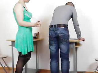 Mamma teacher giving a handjob