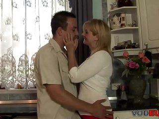 VODEU - Horny blonde mom gets fucked by a young guy