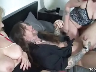 German Mom and Aunt Seduce Younger Man to Fuck Her