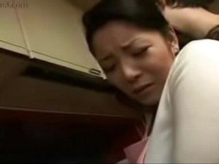 Hot Japanese Asian Mom fucks her Son in Kitchen