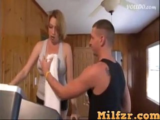 Son helps big boobs mom with exercise and fucked