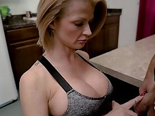 Step-Mom sucks off her Son for his cum