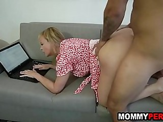 My mom doesn't even stop working when i bang her doggystyle