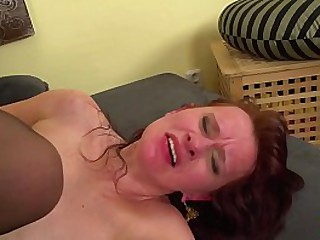 ugly horny redhead mom in sexy stockings gets extreme rough ass fucked by her big cock toyboy