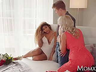 MOM Big tits Euro MILF gets young stud for Valentines pussy stacking three way with Venus Afrodita