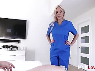 Blonde Nurse Mom Fucks Me