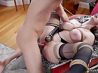 Bf Seth Gamble fucks his redhead girlfriend Penny Pax in doggy style then whips and fucks her step mom Chanel Preston
